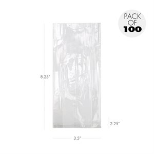 Cellophane Bags 3 1 / 2  X 2 1 / 4  x 8 1 / 4 Inch Pack of 100