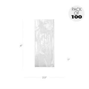 Cellophane Bags  2 1 / 2 x 1 x 6 Inch Pack of 100
