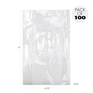 """Cellophane Bags 6 3 / 4"""" X 9"""" Flat Pack of 100"""