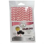 Red Chevron Cake Pop Sticks- 6 Inch -Pack of 25