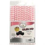 Pink Chevron Cake Pop Sticks- 6 Inch -Pack of 25