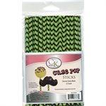 Green & Black Chevron Cake Pop Sticks- 6 Inch -Pack of 25