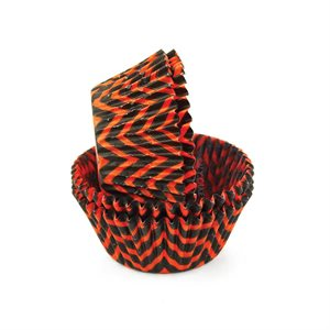 Chevron Orange & Black  Standard Cupcake Baking Cup Liner