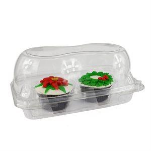 Jumbo Cupcake Box Clear 2 Cavity Hinge