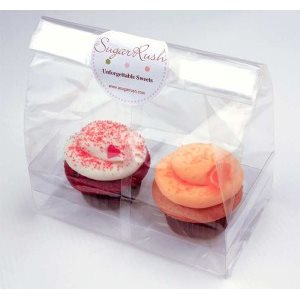 Cupcake Bag Standard Holds 2 Cupcakes 7 x 4 x 9 Inch Pack of 100