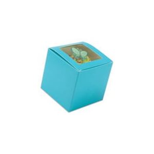 "Blue Cupcake Box 3"" x 3"" x 3"" w /  Square Window"