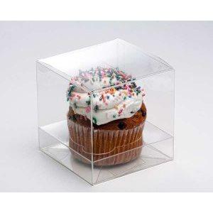 "Clear Cupcake Box 4"" x 4"" x 4""( w /  Insert)"