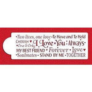Words of Love Cake Stencil By Designer Stencils
