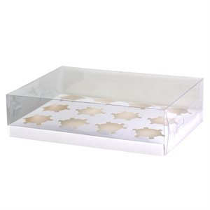 Clear Cupcake Box w /  White Base 12 Cavity