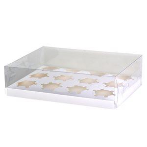 Clear Cupcake Box w /  White Base 12 Cavity
