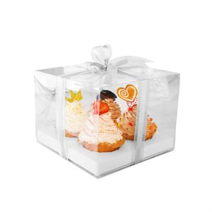 Clear Cupcake Box w /  White Base 4 Cavity