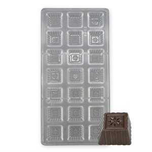 Square with Daisy Polycarbonate Chocolate Mold