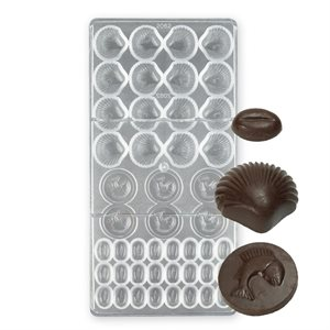 Shell and Fish Assortment Polycarbonate Chocolate Mold