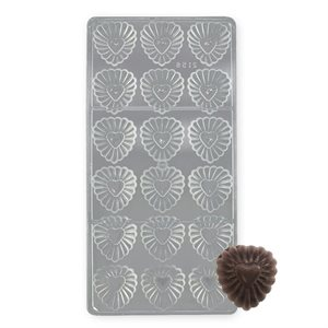 Fluted Heart Polycarbonate Chocolate Mold