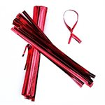 Red Metallic Twist Ties Pack of 100 4 Inch Long