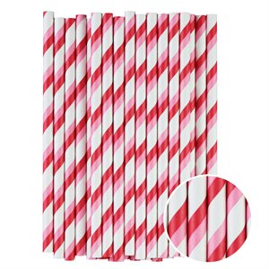 Pink & Red Stripes Cake Pop Sticks- 6 Inch -Pack of 25