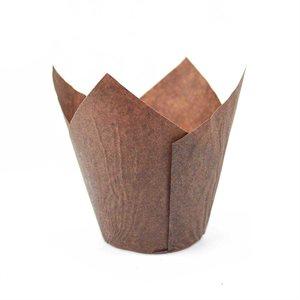 Brown Tulip Paper Baking Mold 25 Pcs
