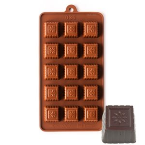 Fluted Square with Flower Silicone Chocolate Mold