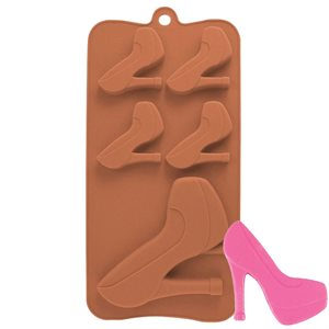 High Heel Shoe Silicone Chocolate Mold Brown