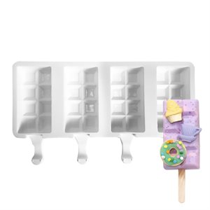 Silicone Mold for Ice Cream Pops,Break Away Shape-4 Cavity