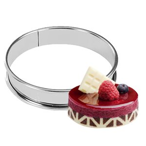 "Stainless Steel Round Tart Ring,100mm (4"") x 3 / 4"" High"