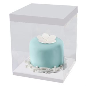 "Clear Square Box w /  White Base 12"" x 12"" x 9.8"""
