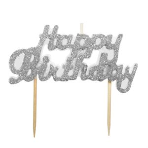Silver Glitter Happy Birthday Candle