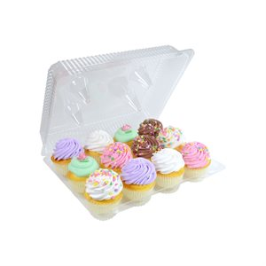 Standard Cupcake Box Clear 12 Cavity Hinge