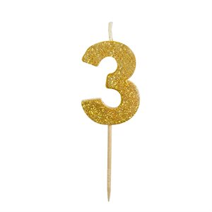Gold Glitter Number 3 Candle 1 3 / 4""