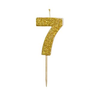 Gold Glitter Number 7 Candle 1 3 / 4""