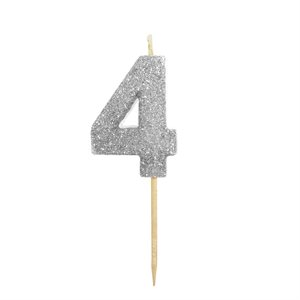 """Silver Glitter Number 4 Candle 1 3 / 4"""""""