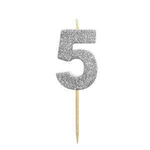 """Silver Glitter Number 5 Candle 1 3 / 4"""""""