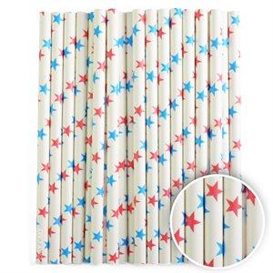 Red & Blue Stars Cake Pop Sticks- 6 Inch -Pack of 25