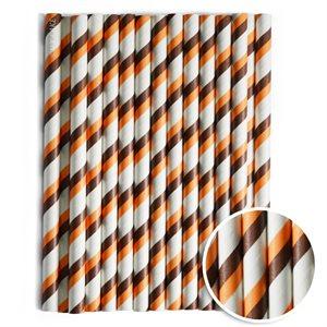 Brown & Orange Stripe Cake Pop Sticks- 6 Inch -Pack of 25