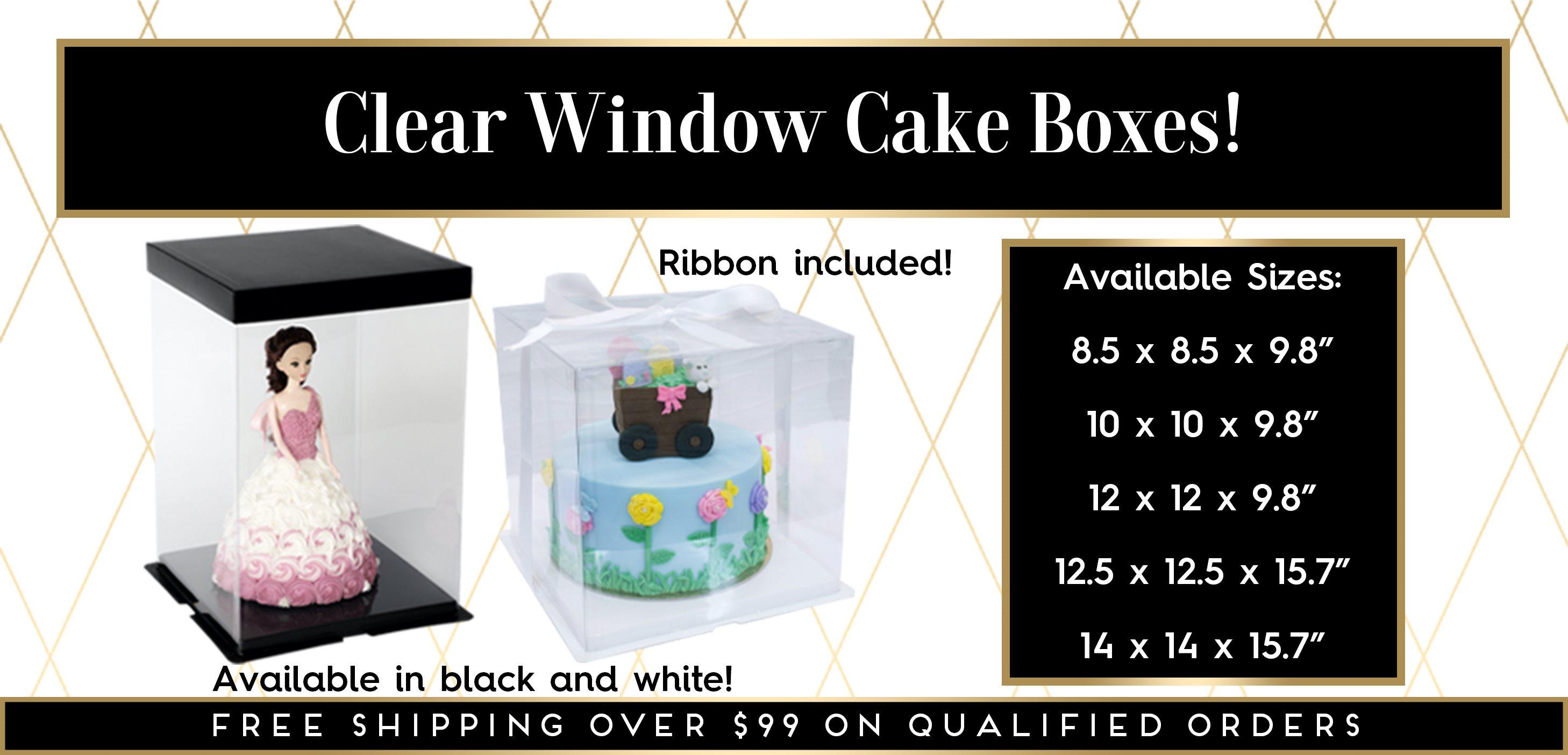Clear Window Cake Boxes Black White Base