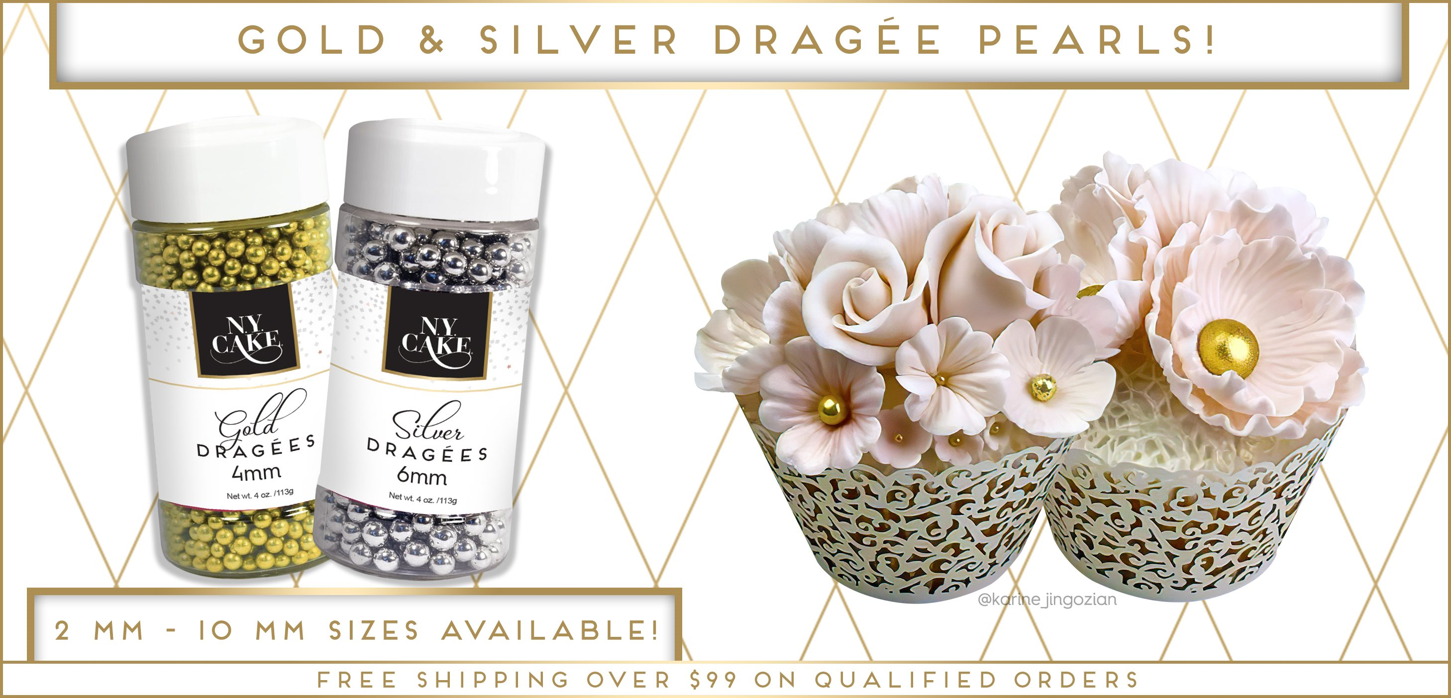 Dragee Pearls Gold Silver Multicolor