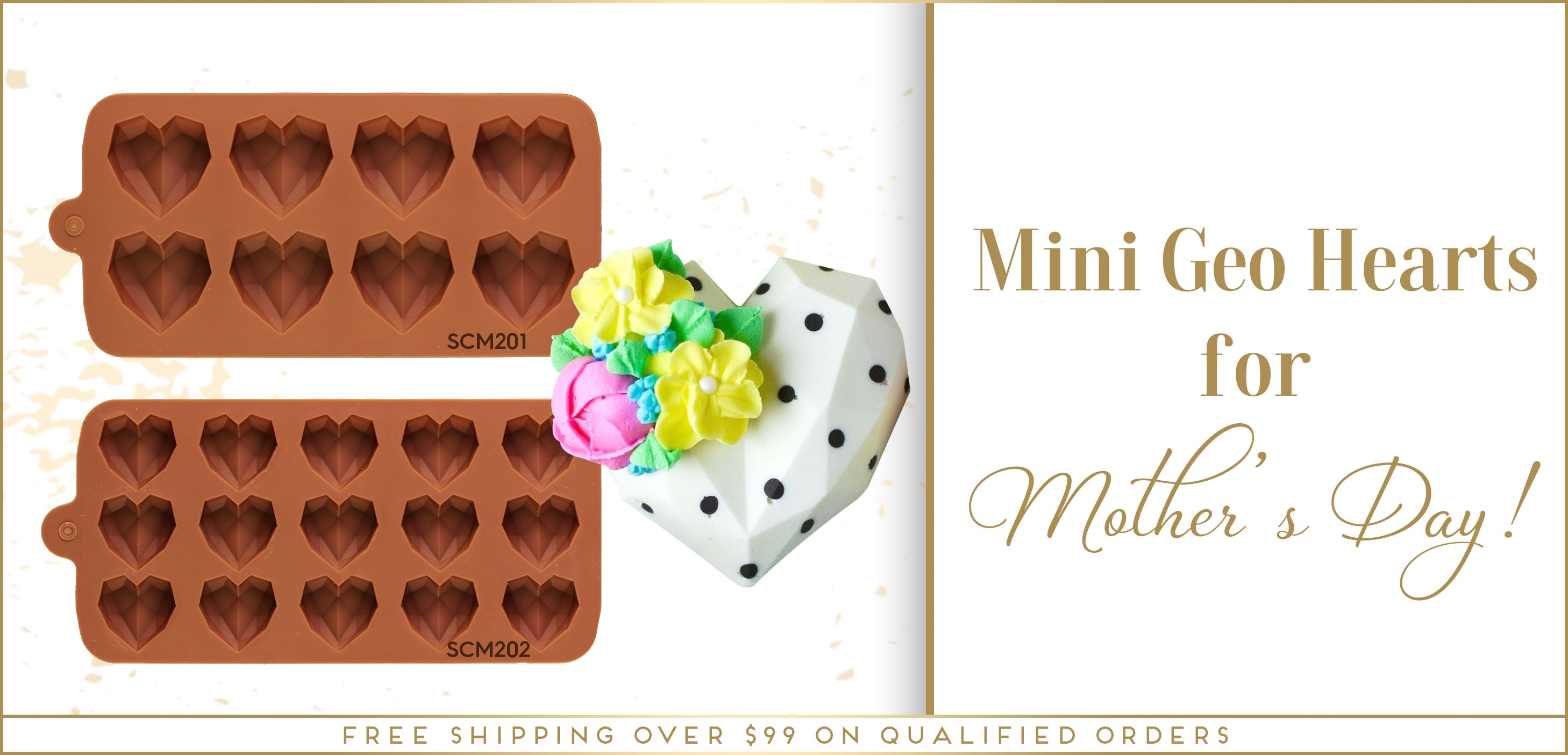 Mini Geo Gem Heart Chocolate Silicone Mold Mother's Day