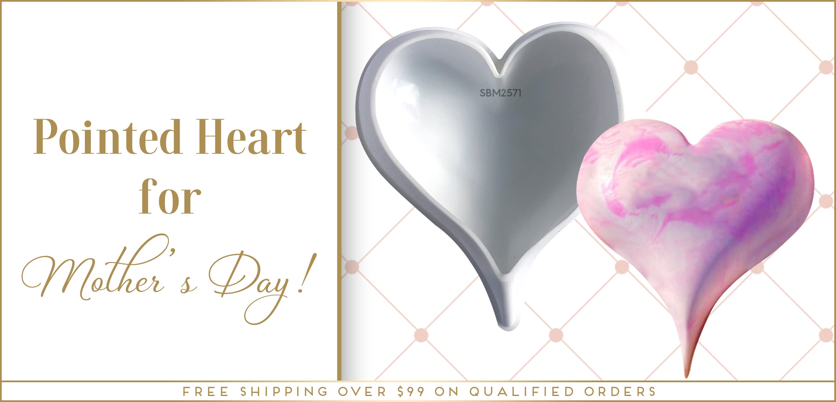 Mother's Day Baking Pointed Heart Silicone Mold