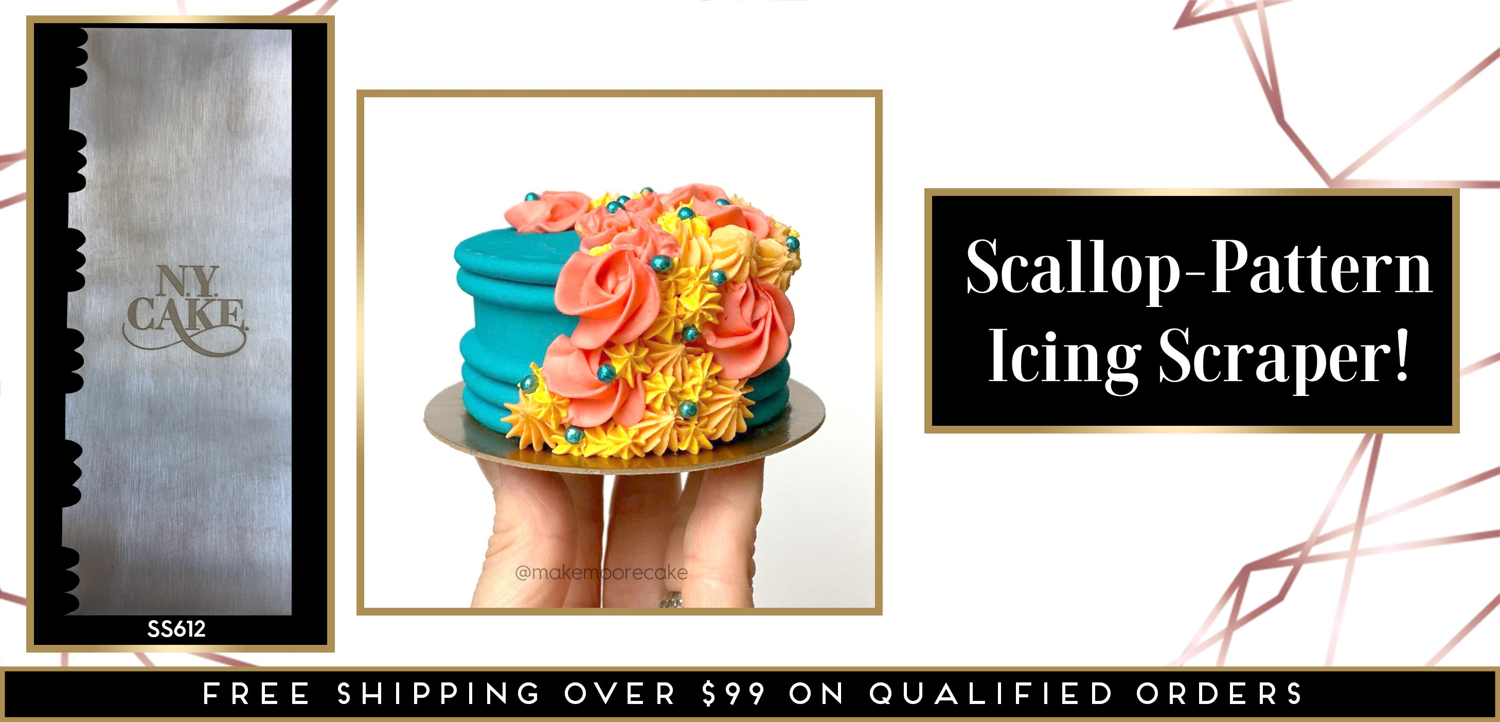 Scallop Pattern Icing Buttercream Stainless Steel Scraper Comb