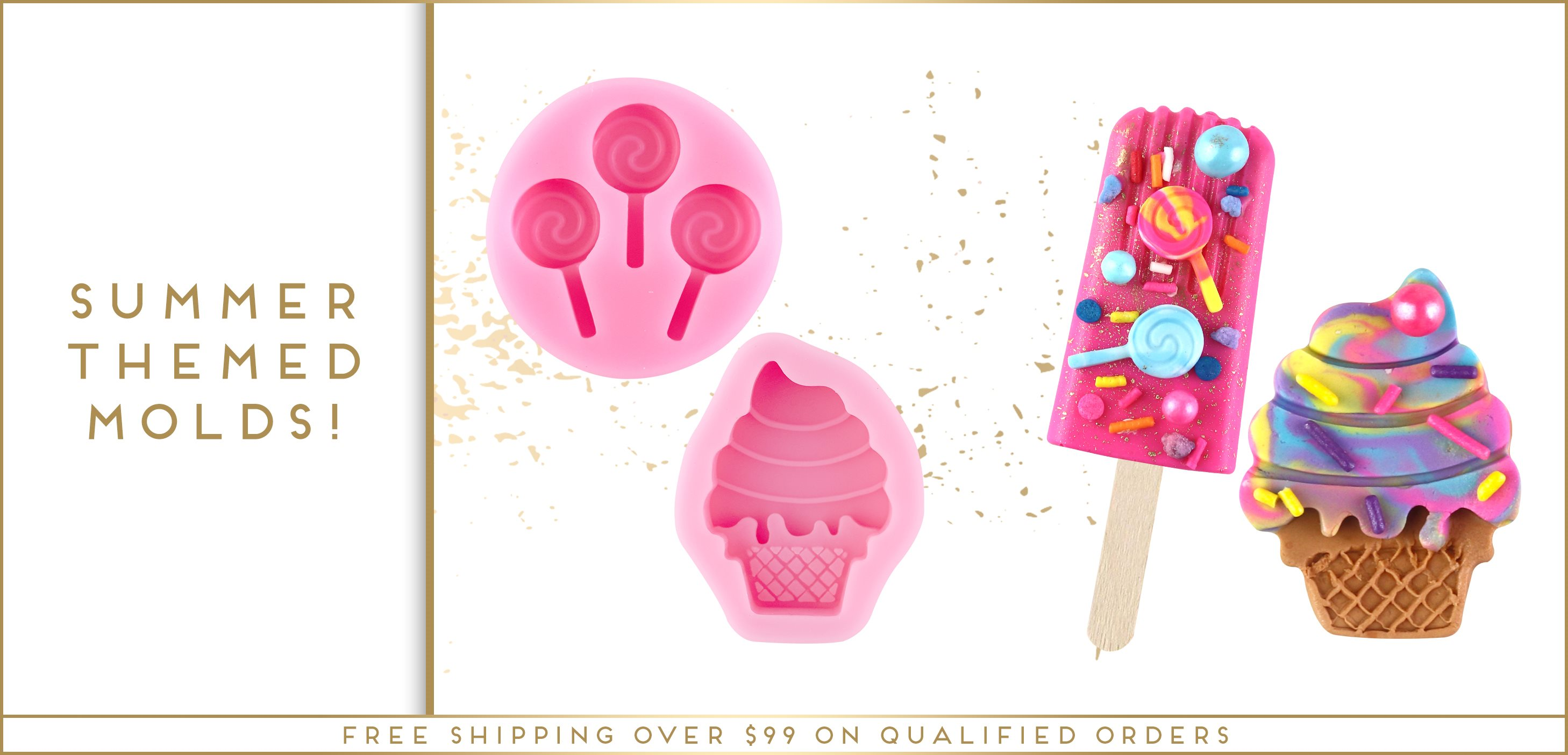 Summer Themed Ice Cream Lollipop Silicone Fondant Mold